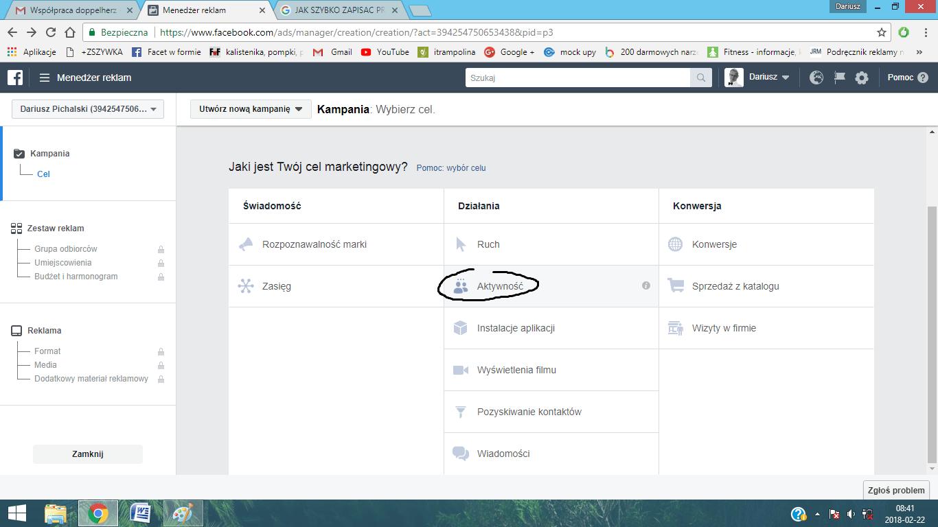 cel reklamowy facebook ads