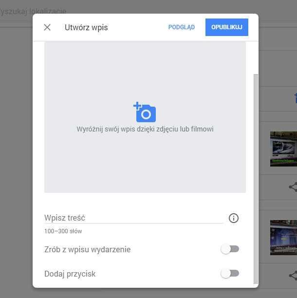 wizytowka google maps wpis wideo
