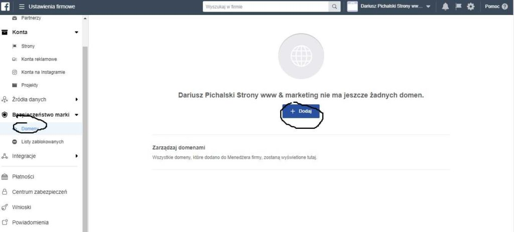 reklama na facebooku weryfikacja domeny