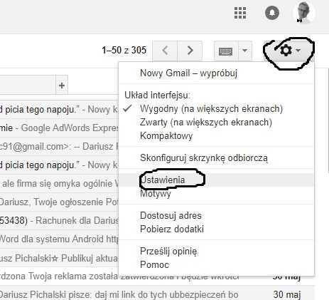 podpis email w Gmail