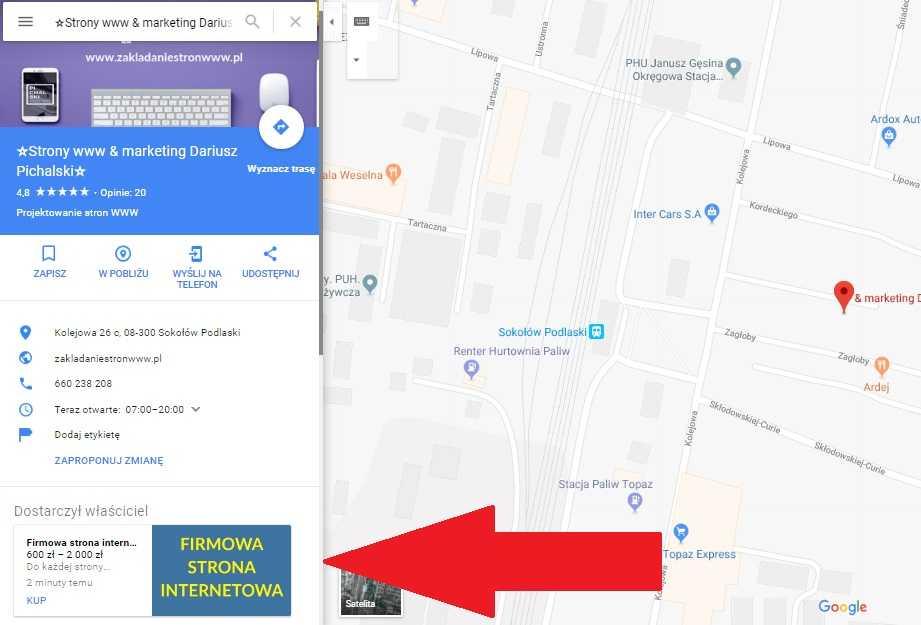 google maps produkty w wizytówce
