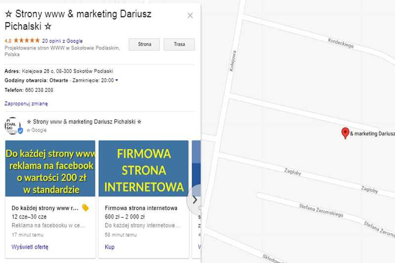 oferta produkty google maps
