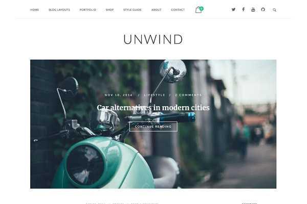 szablon wordpress unwind