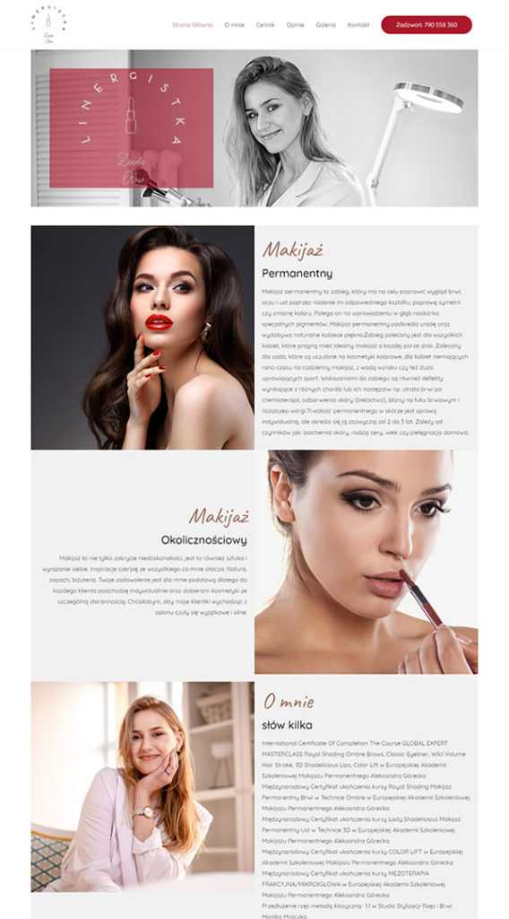 strony internetowe na wordpress salon piękności