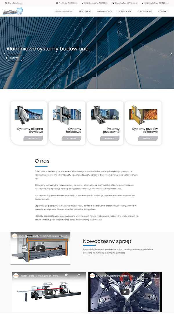 aludoor strona internetowa na wordpress